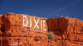 Dixie Rock aka Sugarloaf in St. George, Utah. Tourists over look the town of St. George, Utah from Dixie Rock aka Sugarloaf Stock Photography