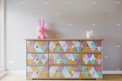 DIY五颜六色的洗脸台在淡色女孩室 库存照片