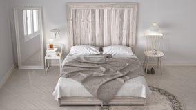 DIY卧室,与木床头板,斯堪的纳维亚白色eco c的床 皇族释放例证