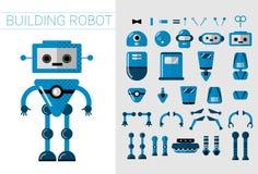 DIY套传染媒介在平的动画片样式的机器人细节 逗人喜爱的创作的动画片机器人分开的零件人为 库存例证