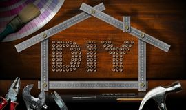 Diy标志-工作工具和式样议院 免版税图库摄影