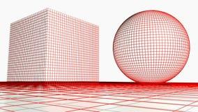 DIY标记在两以后增长wirframed几何形状- 3D翻译录影 皇族释放例证