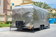 DIY野营的RV遮篷拖车,手工制造 库存图片