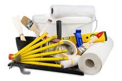 Diy εργαλεία διακοσμήσεων ανακαίνισης και κάδος χρωμάτων Στοκ φωτογραφία με δικαίωμα ελεύθερης χρήσης