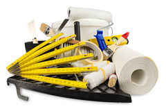 Diy εργαλεία διακοσμήσεων ανακαίνισης και κάδος χρωμάτων Στοκ εικόνα με δικαίωμα ελεύθερης χρήσης