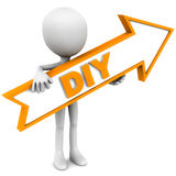 Diy. Do it yourself concept, little 3d funny man holding an arrow pointing towards a DIY project or steps, white background orange colored text and border vector illustration