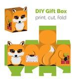 可爱做它你自己DIY狐狸有耳朵的礼物盒甜点的,糖果,小礼物 库存照片