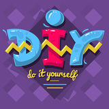 DIY Acronym. Do It Yourself. 90 s Vibrant Colors Aesthetic Typ Stock Image