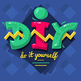 DIY Acronym. Do It Yourself. 90 s Vibrant Colors Aesthetic Typ Royalty Free Stock Photography