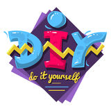DIY Acronym. Do It Yourself. 90 s Vibrant Colors Aesthetic Typ Stock Photos