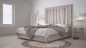 DIY bedroom, bed with wooden headboard, scandinavian white eco c Royalty Free Stock Image