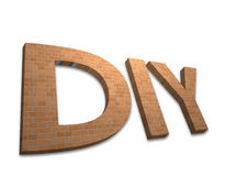 DIY Bricks. 3D DIY Bricks text on white background stock image