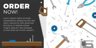 DIY business banner. Or website element design. Vector illustration of home DIY tools with text area for your advertising. Home repair objects. Construction Royalty Free Stock Image