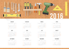 Diy calendar 2016. Diy and home renovation calendar 2016 with work hardware tools hanging on a pegboard Stock Images