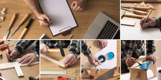DIY and carpentry collage. Do it yourself and home improvement concept collage with carpenter drafting a project and working with tools and wood Royalty Free Stock Image