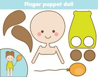 DIY children educational creative game. Make a finger puppet doll with scissors and glue. Paprecut activity. Creative printable tu. Torial for kids Stock Photo