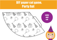 DIY children educational creative game. Make a party hat Royalty Free Stock Photography