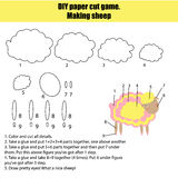 DIY children educational creative game. Make a sheep Royalty Free Stock Images
