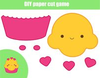 DIY children educational creative game. Paper cutting activity. Make a cute cupcake with glue and scissors. Printable sheet for motoric skills royalty free illustration