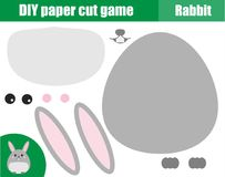 DIY children educational creative game. Paper cutting activity. Make a cute rabbit, bunny with glue and scissors. DIY children educational creative tutorial game Royalty Free Stock Images