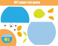 DIY children educational creative game. Paper cutting activity. Make a fish in bowl with glue and scissors. DIY children educational creative tutorial game Royalty Free Stock Images