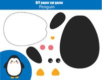 DIY children educational creative game. Paper cutting activity. Make a penguin with glue and scissors. DIY children educational creative tutorial game. Paper Royalty Free Stock Photography