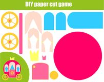 DIY children educational creative game. Paper cutting activity. Make a princess carriage with glue and scissors. DIY children educational creative tutorial game vector illustration