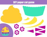 DIY children educational creative game. Paper cutting activity. Make a cupcake with glue. DIY children educational creative tutorial game. Paper cutting activity Royalty Free Stock Images