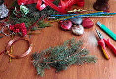 DIY christmas wreath. The process of making handicraft christmas wreath royalty free stock photo