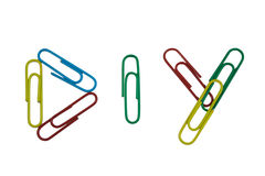DIY. Colourful Paperclips Arranged Into DIY stock photography
