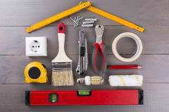 DIY construction tools on wooden background Royalty Free Stock Photos
