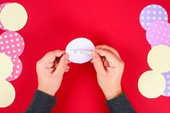 Diy cookie with predictions on a red background. Gift ideas, decor for Chinese new year. Handmade. Fortune cookies from a multi-. Diy cookie with predictions on stock photo
