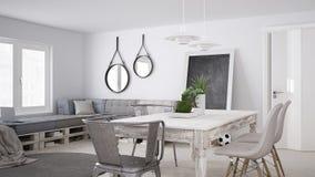DIY couch sofa, pallet, scandinavian white living, interior desi Stock Images