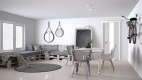 DIY couch sofa, pallet, scandinavian white living, interior desi Stock Image