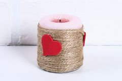 Free Diy Decor On February 14th. A Gift And A Candle For Valentine`s Day Do-it-yourself Royalty Free Stock Image - 134445176