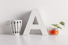 Diy decoration on white background. Royalty Free Stock Images