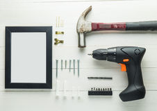 DIY dirigem a decoração ajustada com martelo da chave de fenda Fotografia de Stock