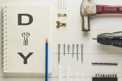 DIY dirigem o conjunto de ferramentas da decoração para a moldura para retrato Fotos de Stock Royalty Free