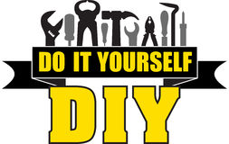 DIY do it yourself banner with silhouettes of workers tools: ham Stock Photography