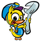 DIY Do it yourself cartoon baby duck plumber fixing plumbing Stock Images