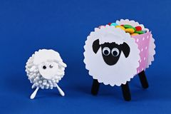 Diy Eid al adha lamb sheep cotton pads, cotton buds, swabs on blue Gift idea, decor Eid al adha. Diy Eid al adha lamb sheep cotton pads, cotton buds, swabs on stock photo