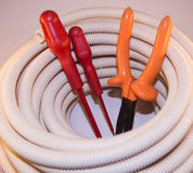 Diy electrical installation Stock Photography