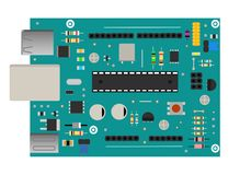 DIY electronic mega board with a microprocessor, interfaces, LEDs, connectors, and other electronic components, to form. DIY electronic board with a Stock Image