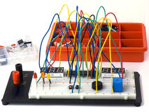 DIY electronics on breadboard (raster) Royalty Free Stock Images