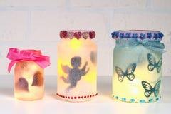 Free Diy Fairy Jar On White Brick Wall Background. Gift Ideas, Decor St February 14, Valentines Day, Love Stock Image - 135186311