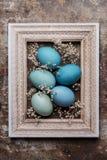 DIY gefärbte verschiedene Schatten des blauen hölzernen Spotts Ostereier und des Bilderrahmens der Weinlese oben Stockbilder