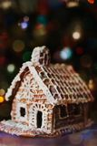 DIY gingerbread house with icing sugar royalty free stock image