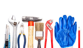 DIY hand tools set on white background Royalty Free Stock Photo