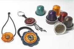 DIY-Handwerk gemacht mit Espressokapseln Lizenzfreies Stockbild