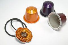 DIY-Handwerk gemacht mit Espressokapseln Stockfoto